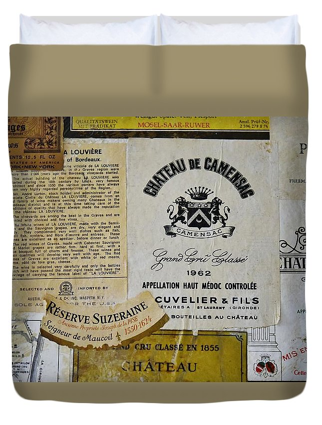 Linda Brody Duvet Cover featuring the photograph Vintage Wine Labels 8 by Linda Brody