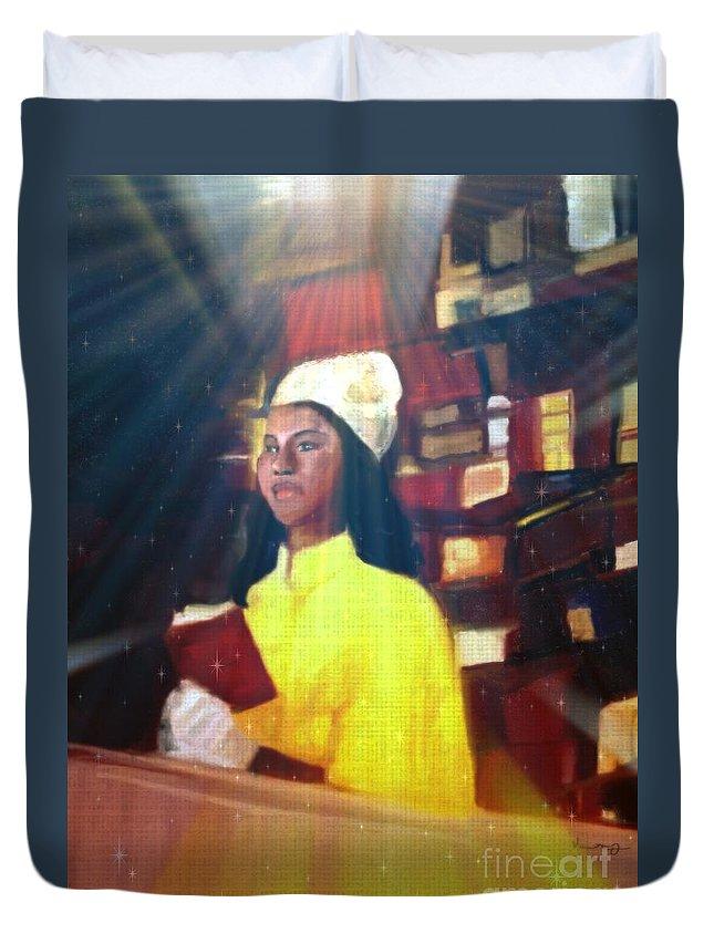 Black Art Duvet Cover featuring the mixed media Vintage Worship by Vannetta Ferguson