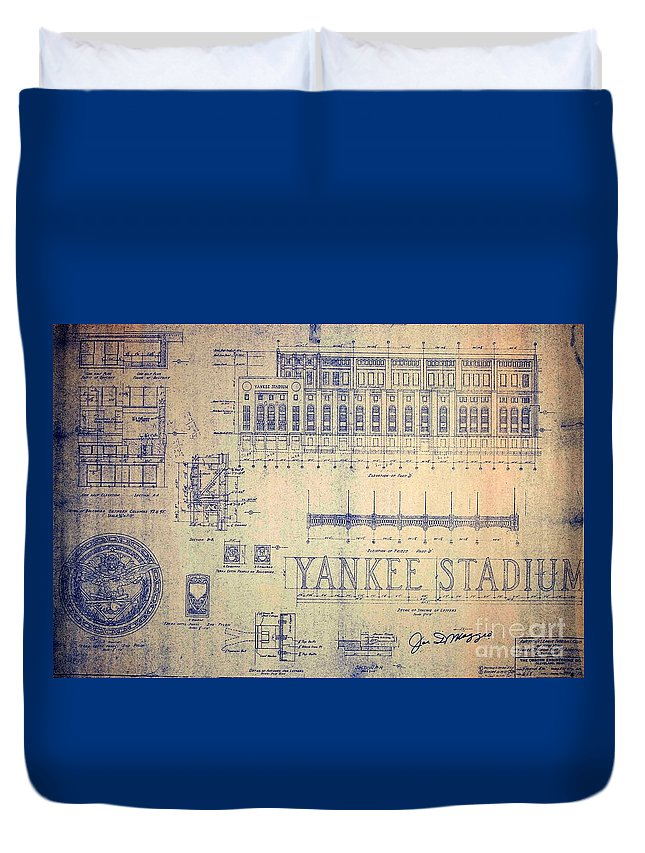 Joe Dimaggio Duvet Cover featuring the drawing Vintage Yankee Stadium Blueprint by Peter Ogden Gallery