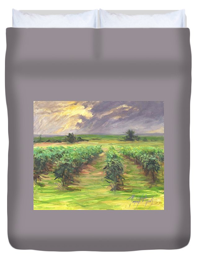 Vinyard Duvet Cover featuring the painting Vinyard by Margaret Aycock