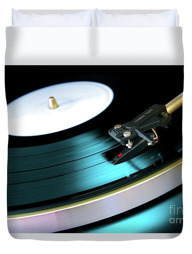 Abstract Duvet Cover featuring the photograph Vinyl Record by Carlos Caetano