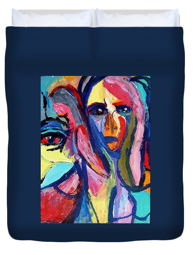 Abstract Duvet Cover featuring the painting Violation--peeping Tom by Judith Redman