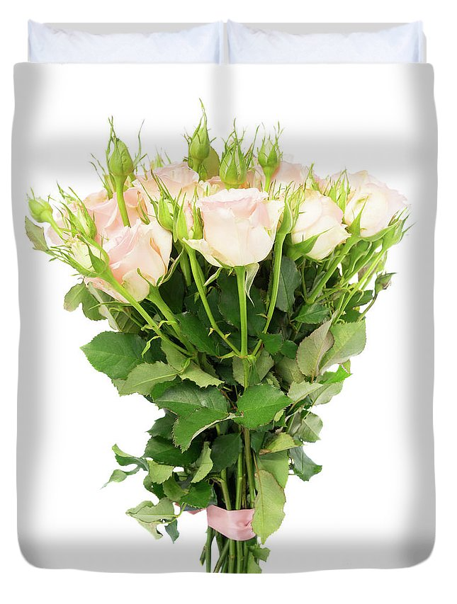 Rose Duvet Cover featuring the photograph Garden Roses Bouquet by Anastasy Yarmolovich