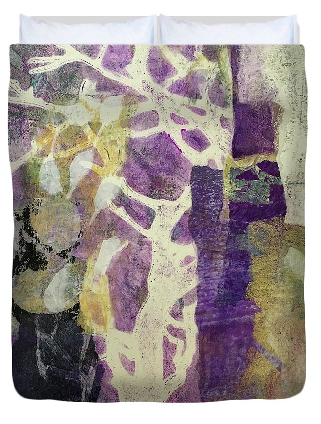 Violet Duvet Cover featuring the painting Violet by Susan Greenbaum