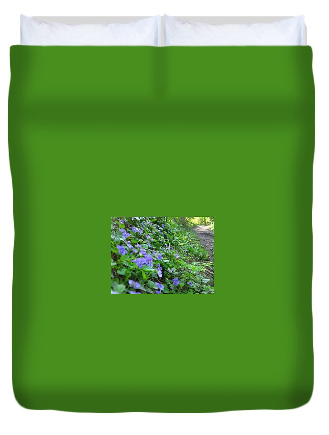 Violets Duvet Cover featuring the photograph Violets by Maria Joy