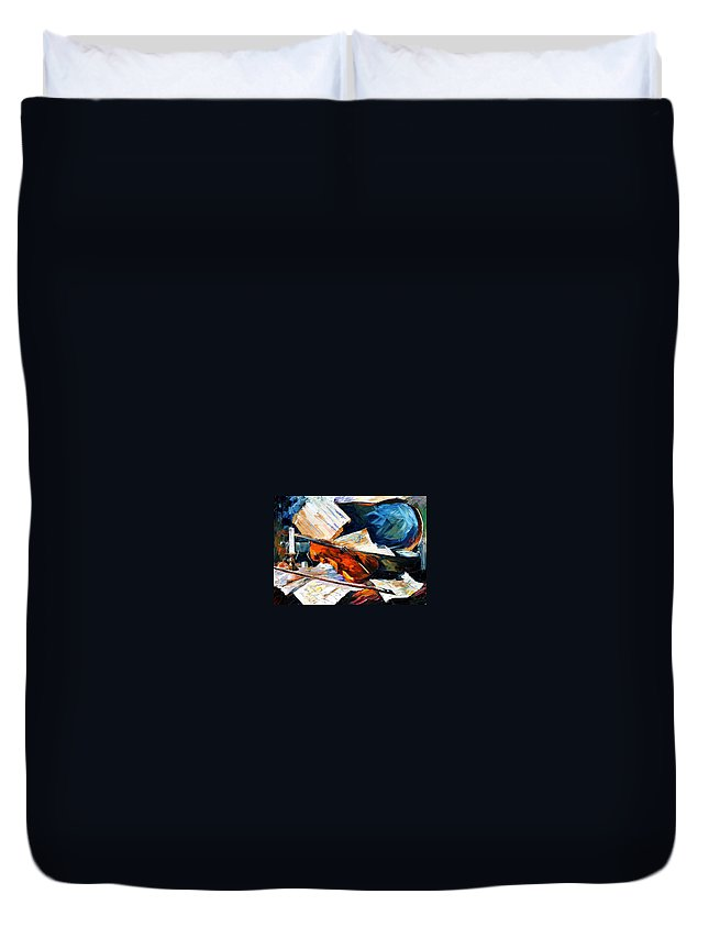 Music Duvet Cover featuring the painting Violin by Leonid Afremov