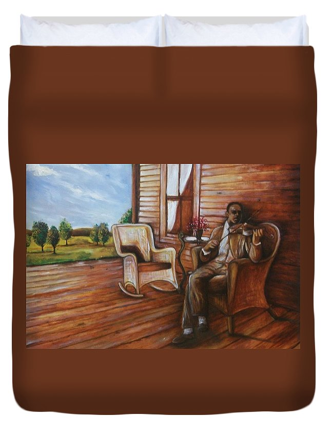 Emery Franklin Duvet Cover featuring the painting Violin Man by Emery Franklin