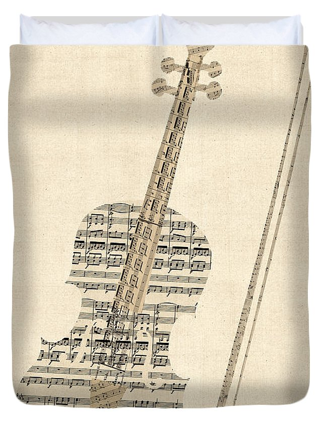 Violin Old Sheet Music Duvet Cover