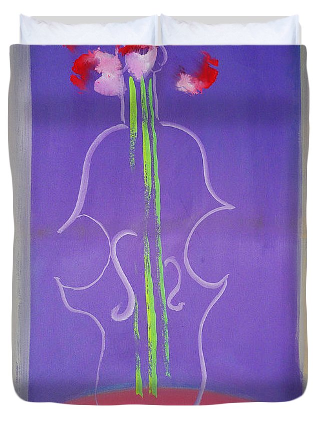 Violin Duvet Cover featuring the painting Violin Vase by Charles Stuart