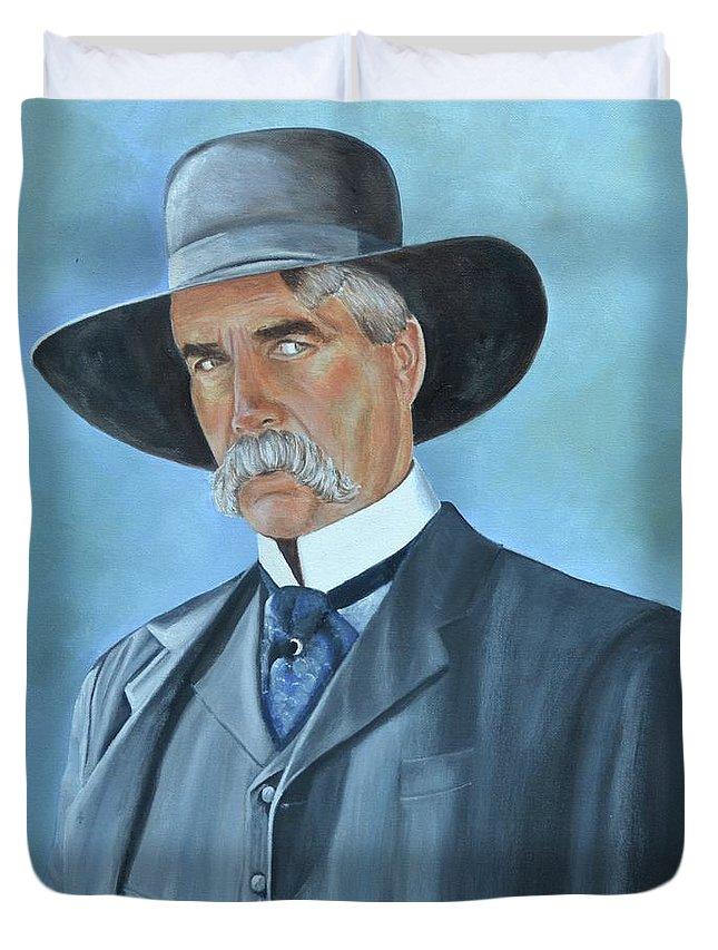Sam Elliott Duvet Cover featuring the painting Virgil Earp by Mary Rogers