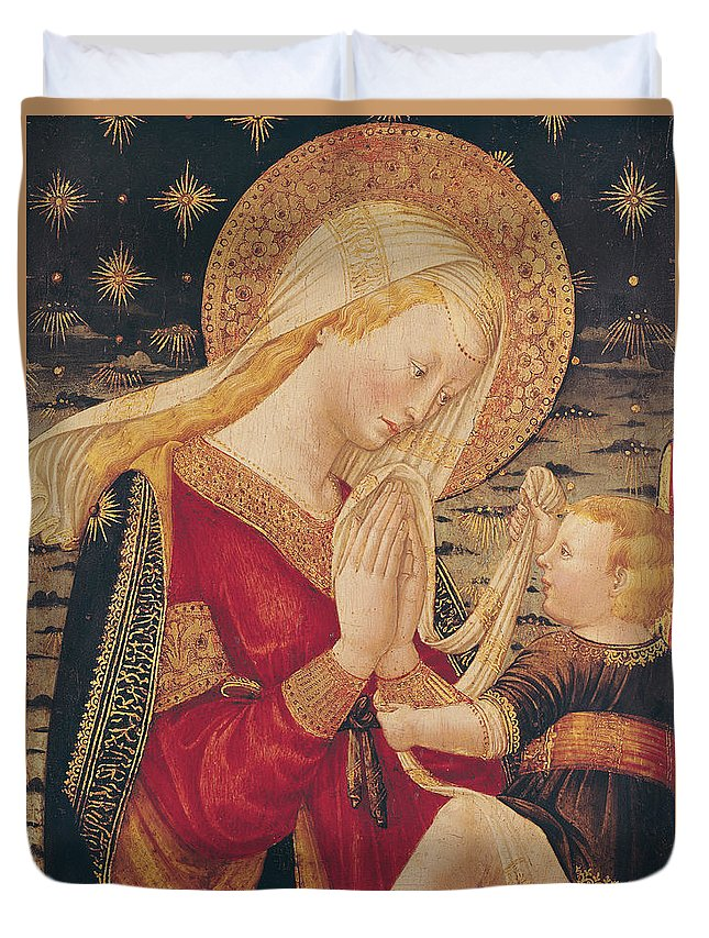 Virgin And Child (tempera On Panel) By Neri Di Bicci (1419-91) Duvet Cover featuring the painting Virgin And Child by Neri di Bicci