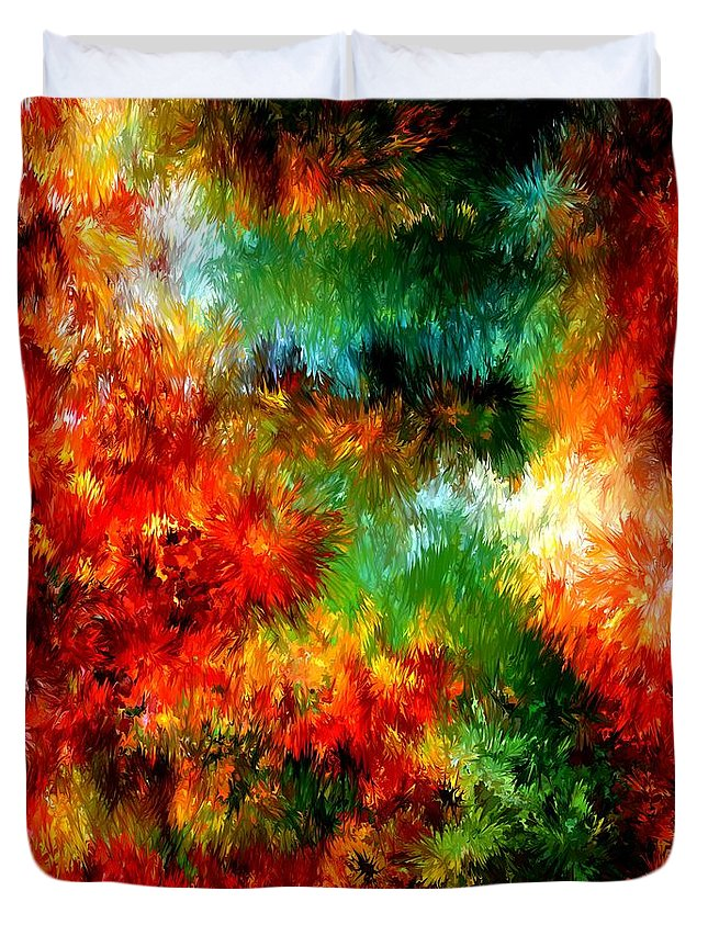 Composition Duvet Cover featuring the painting Virgin Forest by Rafi Talby