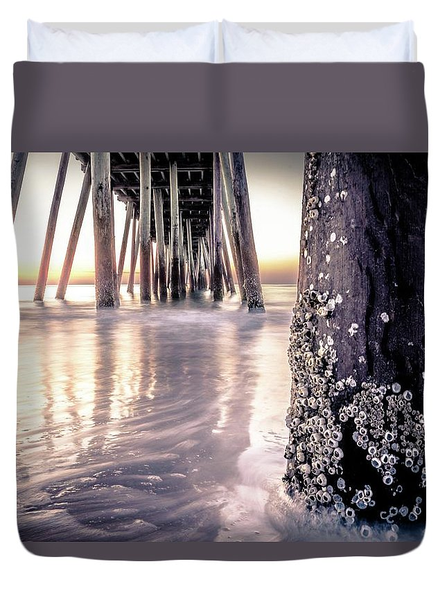 Sunrise Duvet Cover featuring the photograph Virginia Beach Pier 2 by Larkin's Balcony Photography