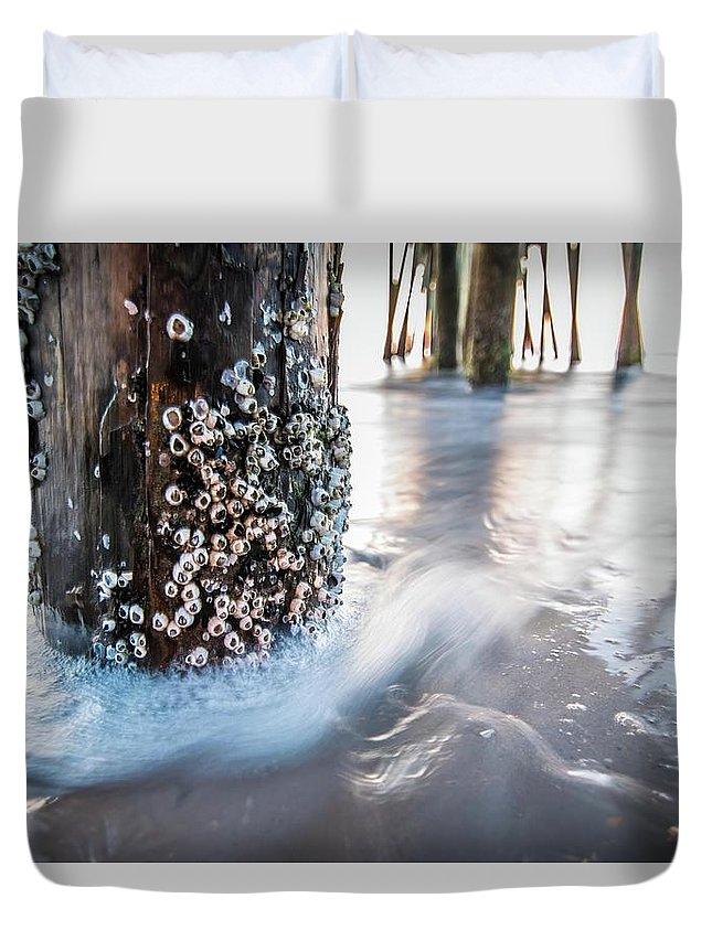 Beach Duvet Cover featuring the photograph Virginia Beach Pier by Larkin's Balcony Photography