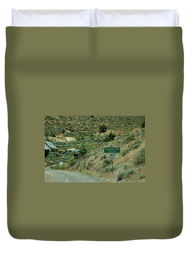 Usa Duvet Cover featuring the photograph Virginia City Named After Henry Comstock by LeeAnn McLaneGoetz McLaneGoetzStudioLLCcom
