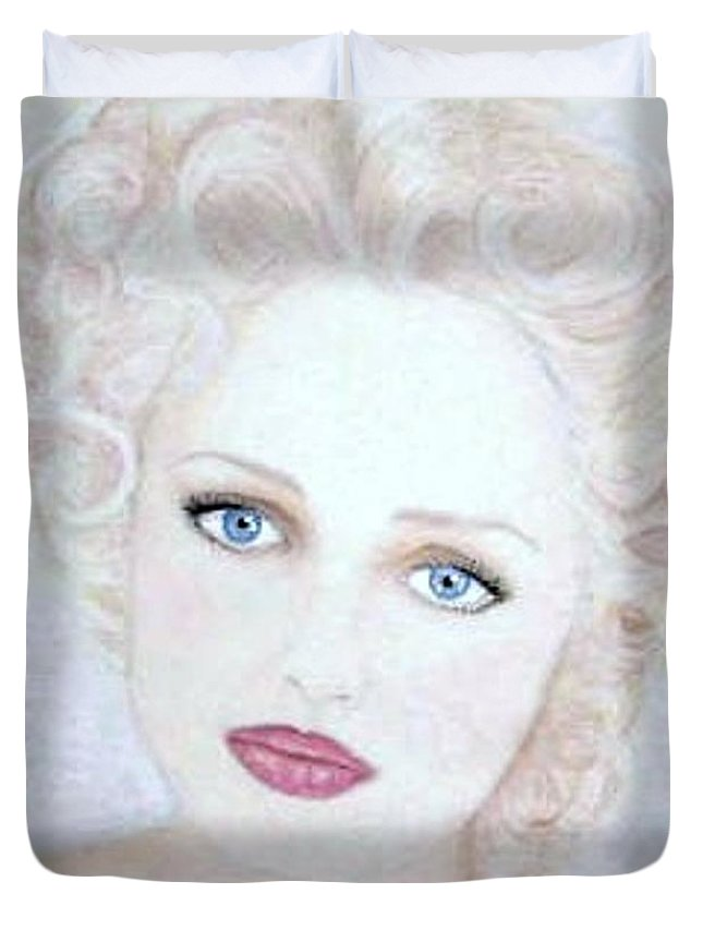 Face Duvet Cover featuring the drawing Virginia by Scarlett Royal