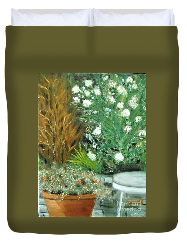 Virginia Duvet Cover featuring the painting Virginia's Garden by Laurie Morgan