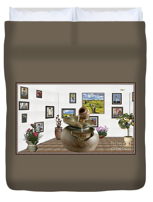 Modern Painting Duvet Cover featuring the mixed media Virtual Exhibition - Source 33 by Pemaro