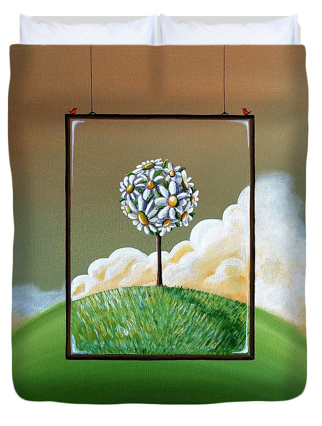 Tree Duvet Cover featuring the painting Virtue by Cindy Thornton