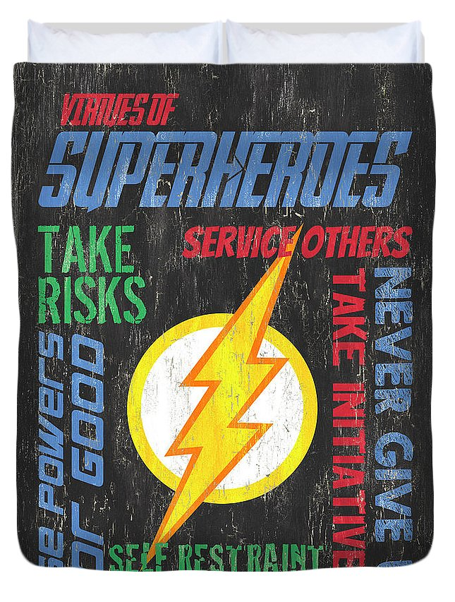 Superhero Duvet Cover featuring the painting Virtues Of A Superhero 2 by Debbie DeWitt
