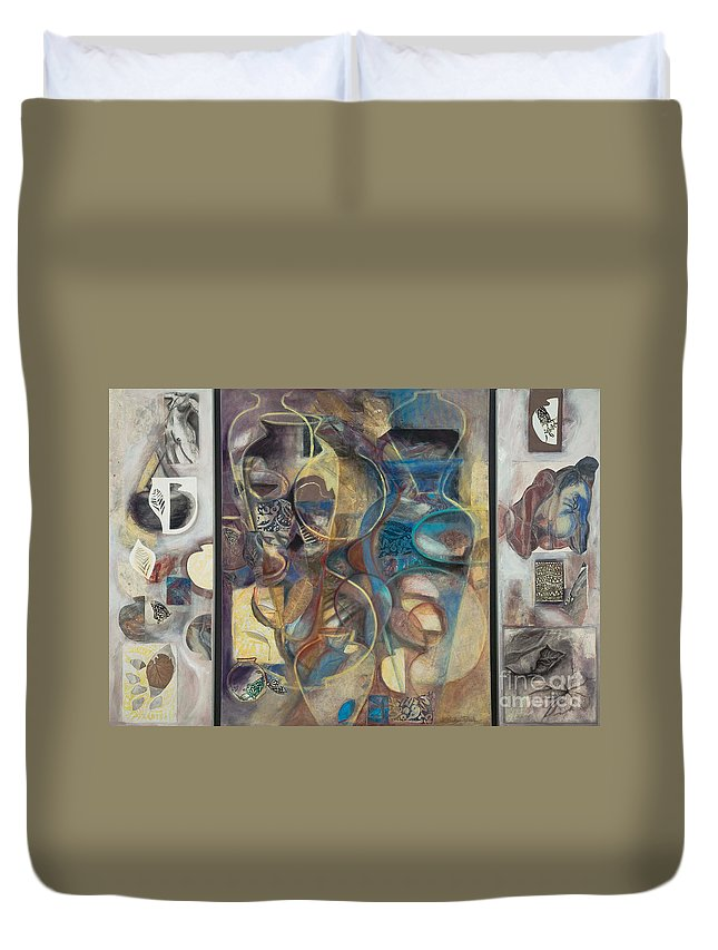 Vessels Duvet Cover featuring the painting Visible Traces by Kerryn Madsen-Pietsch