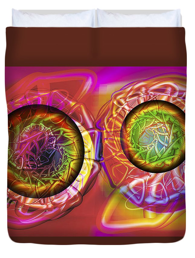 Crazy Duvet Cover featuring the digital art Vision 42 by Jacques Raffin