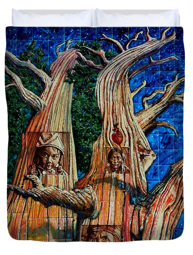 American Indian Duvet Cover featuring the painting Vision Of The Ancient Pine by John Lautermilch