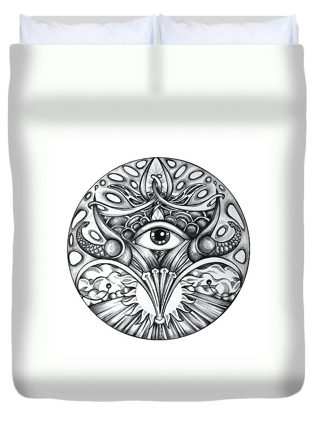 Eye Duvet Cover featuring the drawing Vision by Shadia Derbyshire