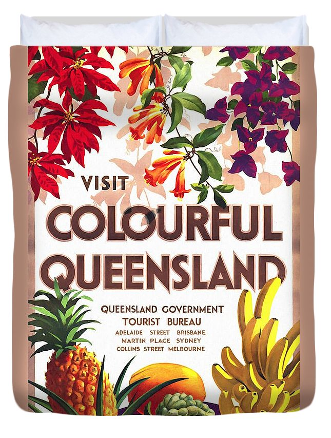 Vintage Poster Duvet Cover featuring the mixed media Visit Colorful Queensland - Vintage Poster Restored by Vintage Advertising Posters