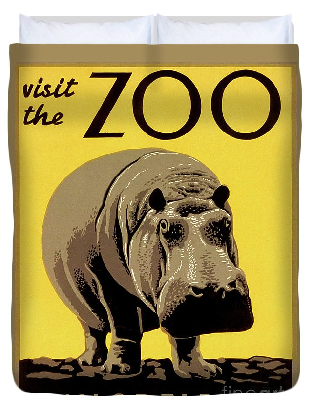 Vintage Duvet Cover featuring the drawing Visit The Zoo Philadelphia by Aapshop