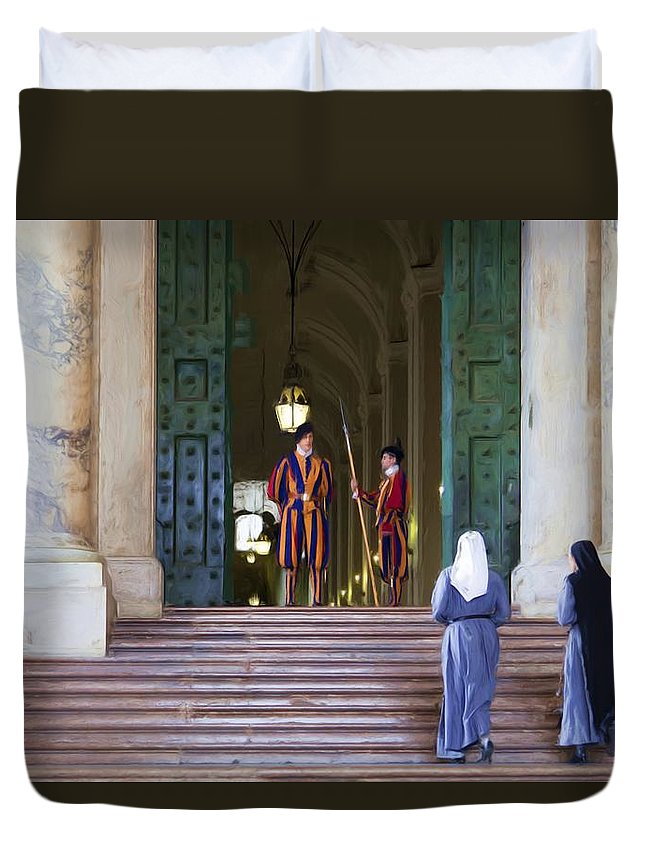 Rome Duvet Cover featuring the painting Visitors by Janet Fikar