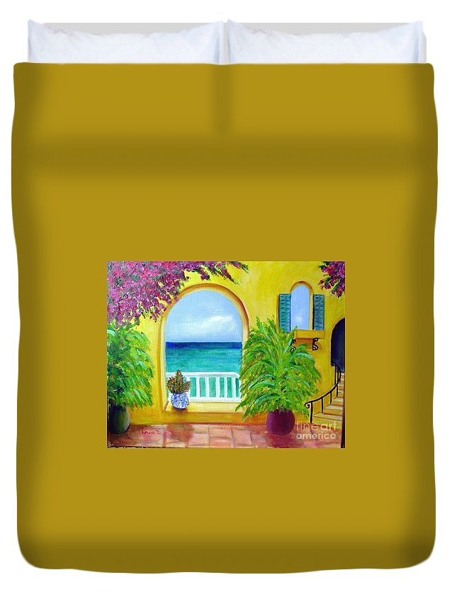 Patio Duvet Cover featuring the painting Vista Del Agua by Laurie Morgan