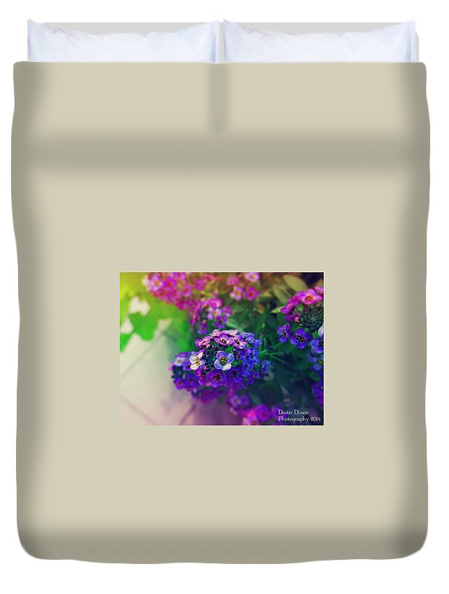 Flower Duvet Cover featuring the photograph Vivid Purple by Devin Dixon