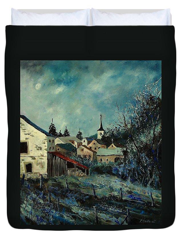 Village Duvet Cover featuring the painting Vivy Bouillon by Pol Ledent