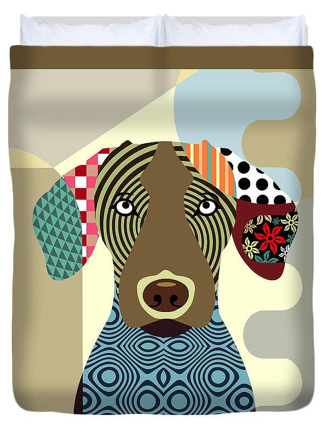 Vizsla Dog Duvet Cover featuring the digital art Vizsla Dog by Lanre Studio