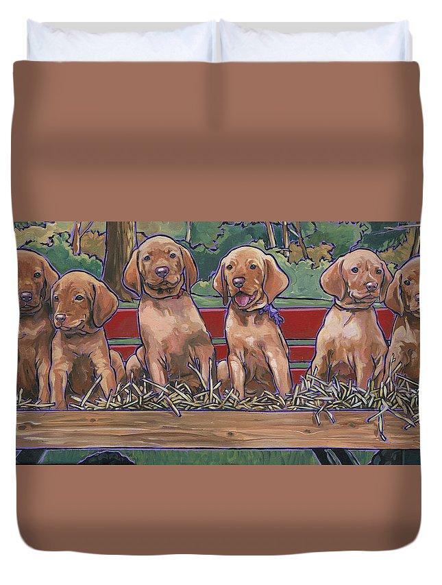 Vizsla Duvet Cover featuring the painting Vizsla Pups by Nadi Spencer