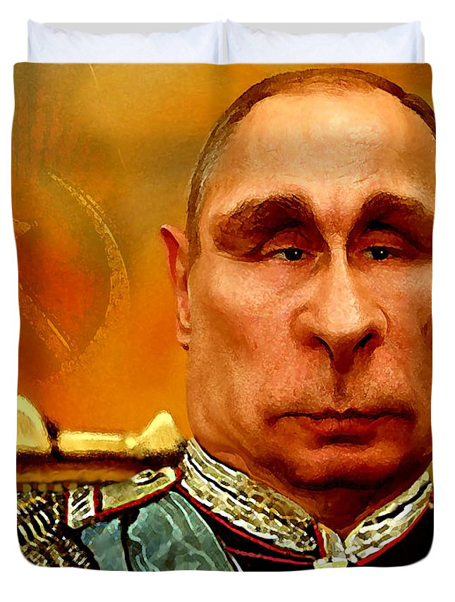 Vladimir Putin Duvet Cover featuring the painting Vladimir Putin by Hans Neuhart