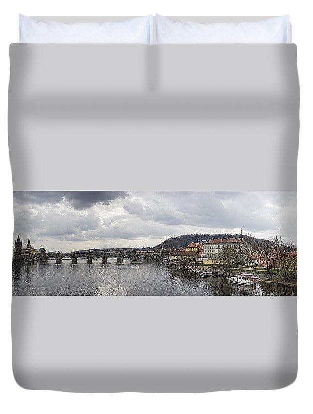 Prague Duvet Cover featuring the photograph Vltava River Scene by Heather Applegate