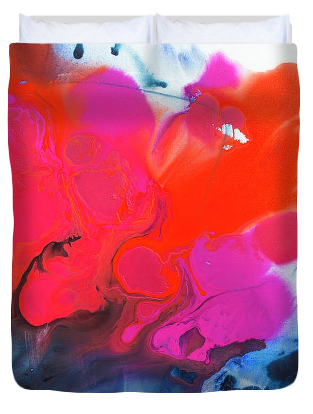 Abstract Duvet Cover featuring the painting Voice by Claire Desjardins