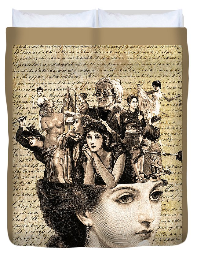 Antique Duvet Cover featuring the mixed media Voices In My Head by Marilu Windvand