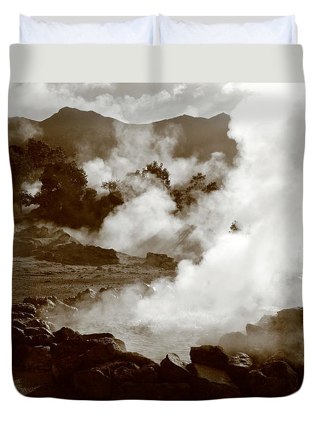 Azores Duvet Cover featuring the photograph Volcanic Steam by Gaspar Avila