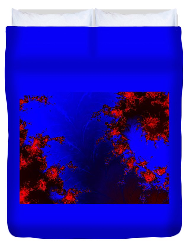 Lava Flow Wind Rythm Volcano Red Blue Duvet Cover featuring the digital art Volcano by Veronica Jackson