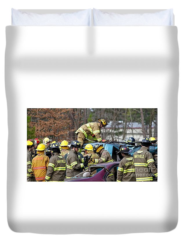 Volunteer Firefighter Duvet Cover featuring the photograph Volunteers by Tim Lent