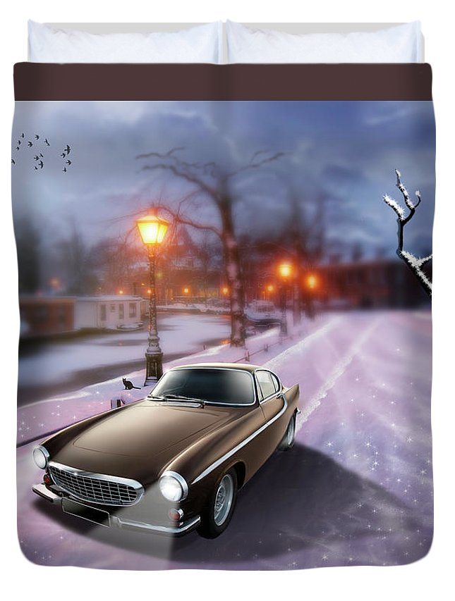 Volvo P1800 Duvet Cover featuring the digital art Volvo P1800 Snow Scene by Linton Hart