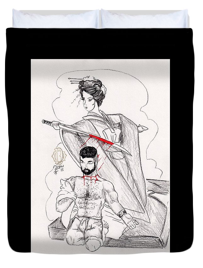 Asian Duvet Cover featuring the drawing Vow Kept by Drew O'Dailey