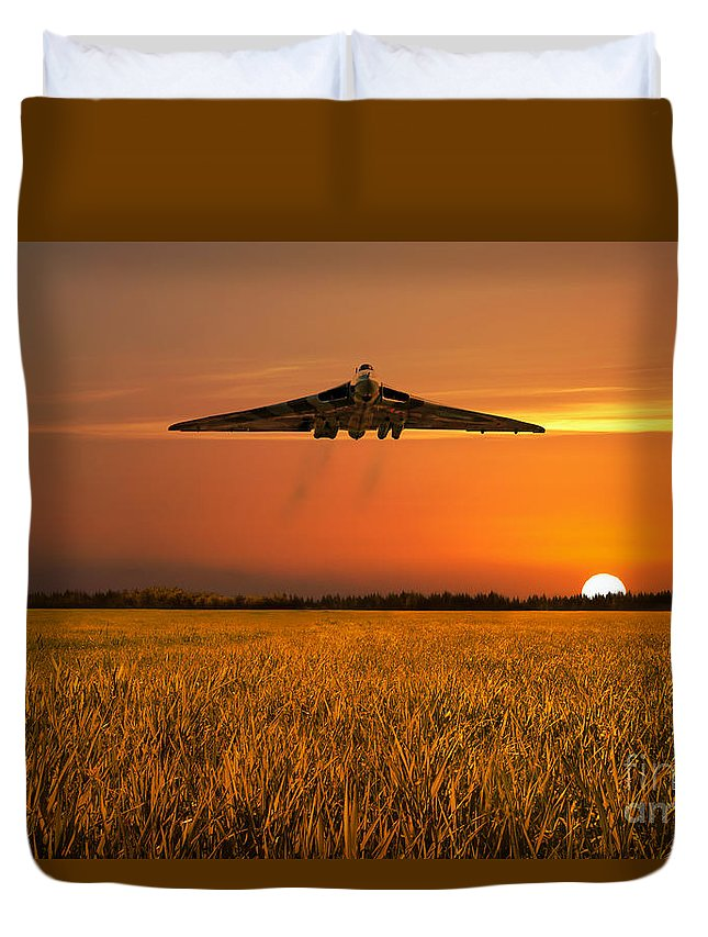 Avro Duvet Cover featuring the digital art Vulcan Farewell Fly Past by J Biggadike