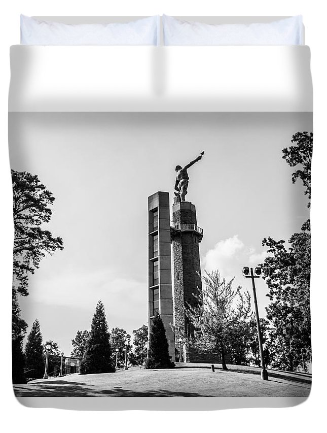 Birmingham Duvet Cover featuring the photograph Vulcan In Black And White by Parker Cunningham