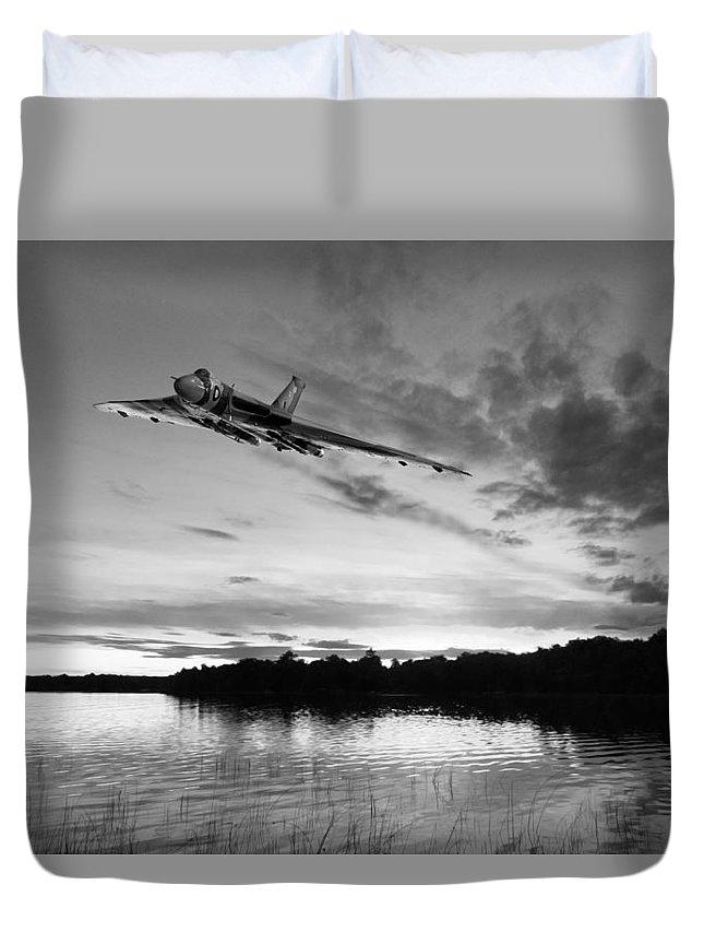 Avro Vulcan Duvet Cover featuring the digital art Vulcan Low Over A Sunset Lake Sunset Lake Bw by Gary Eason