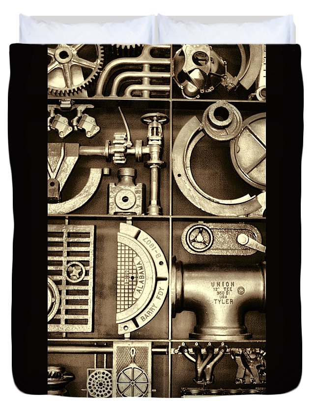 Vulcan Steel Duvet Cover featuring the photograph Vulcan Steel Steampunk Ironworks by Kathy Clark