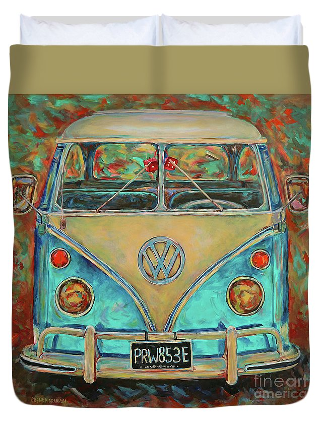 Vw Bus Duvet Cover featuring the painting Vw Van by Brenda Brannon
